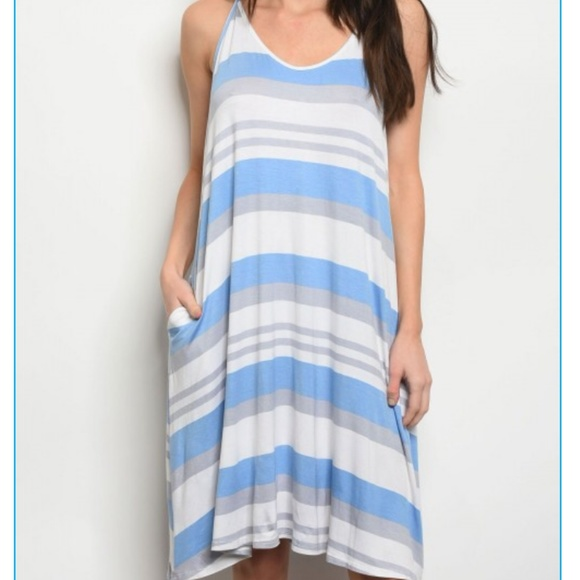 bc8a5198c0a35 Cy Blue White Striped Jersey Dress with Pockets